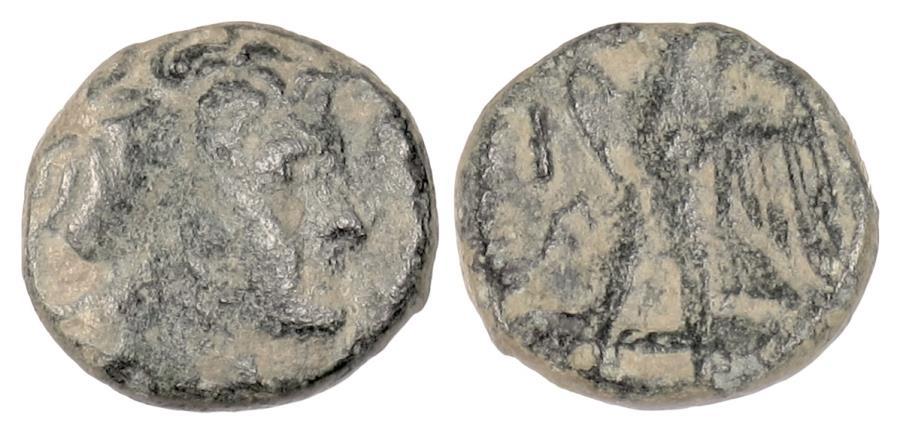 Ancient Coins - Egypt, PTOLEMY I. AE hemiobol, Tyre mint after 294 BCE. Alexander / Eagle  RARE