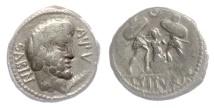 Ancient Coins - Roman Republic, AR denarius, L. Titurius L.f. Sabinus. 89 BC. Tarpeia buried in shields