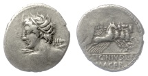 Ancient Coins - Roman Republic, AR denarius. C. Licinius L. f. Macer, Rome mint, 84 BC. Apollo / Minerva