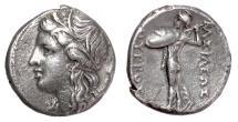 Ancient Coins - King PYRRHOS of Epeiros. AR Octobol, SYRACUSE mint, circa 278-276 BC. Persephone / Athena