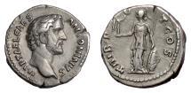 Ancient Coins - Antoninus Pius. AR Denarius, Rome mint. Struck under Hadrian, 138 AD. Minerva