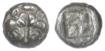 Ancient Coins - LESBOS. BI diobol circa 500-450 BC. Confronted boars' heads / Incuse. Rare
