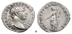 Ancient Coins - TRAJAN. AR Denarius, Rome mint. Struck circa 108-109 AD