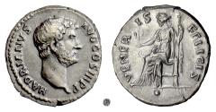 Ancient Coins - HADRIAN.  AR denarius, Rome mint, circa 134-138 AD.  Venus