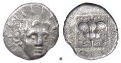 Ancient Coins - RHODES.  AR Hemidrachm, uncertain magistrate, circa 125-88 BC. Helios / Rose