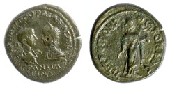 Ancient Coins - Gordian III, with Tranquillina. MOESIA INFERIOR, Tomis. AE tetrassarion, AD 238-244. Hygieia feeding serpent