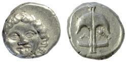 Ancient Coins - THRACE, Apollonia Pontika. AR Drachm, late 5th-4th centuries BC. Gorgon / anchor