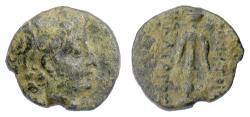 Ancient Coins - SELEUKID, Demetrios II. AE denom C, first reign, 146-138 BCE. Anchor. Rare