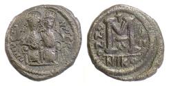 Ancient Coins - BYZANTINE, JUSTIN II. AE follis, Nicomedia mint, 572/3 AD. Justin & Sophia