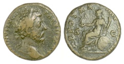 Ancient Coins - Marcus Aurelius. AE as, Rome mint, 166 AD (?). Aurelius / Roma. Unpublished?