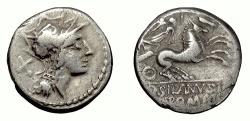Ancient Coins - Roman Republic, D. Silanus L.f. AR denarius, Rome mint, 91 BC. Roma / Victory driving biga