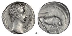 Ancient Coins - AUGUSTUS. AR denarius, Lugdunum (Lyon) mint. Struck 11 BC