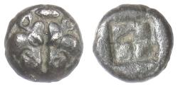 Ancient Coins - LESBOS. BI diobol circa 500-450 BC. Confronted boars' heads / Incuse. Rare
