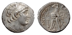 Ancient Coins - SELEUKID KINGS, Antiochos VII. AR Tetradrachm. Tyre mint. Dated SE 182 (131/0 BC)