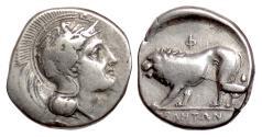 Ancient Coins - LUCANIA, Velia. AR Nomos circa 334-330 BC