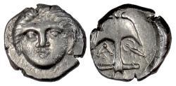 Ancient Coins - THRACE, Apollonia Pontika. AR diobol, late 4th century BC. Medusa / crayfish