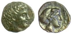 Ancient Coins - THESSALY, Phalanna. AE Trichalkon, mid 4th century BC. Male head / nymph