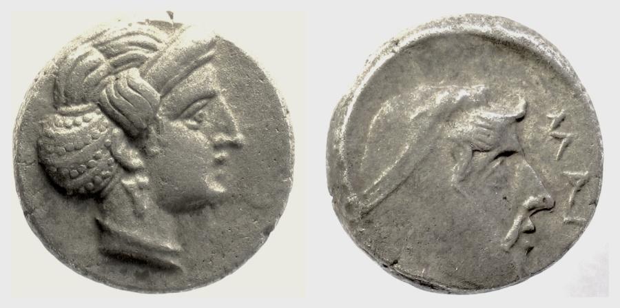 Ancient Coins - CILICIA, Mallos. Tiribazos, Satrap of Lydia. AR Stater. Struck circa 388-386 BC. Aphrodite / Tiribazos. SCARCE