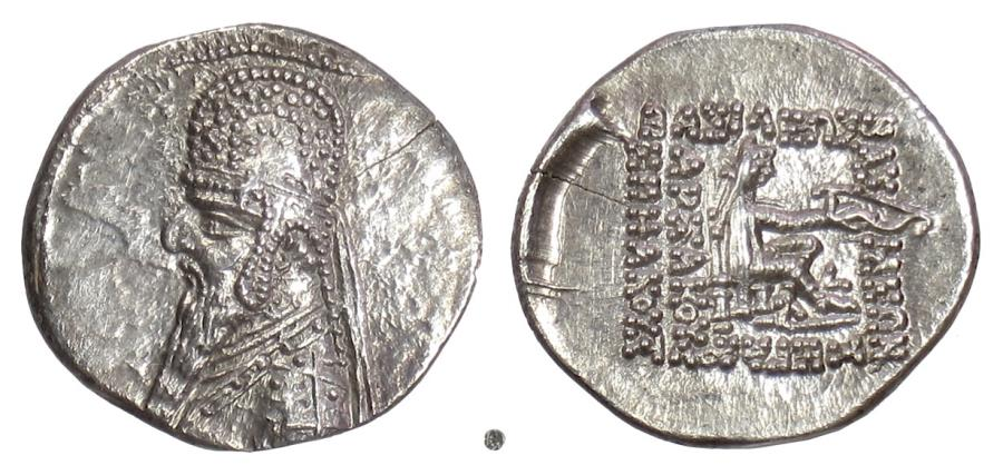 Ancient Coins - PARTHIA, Mithradates II. AR Drachm. Rhagae mint, struck circa 96-91 BC
