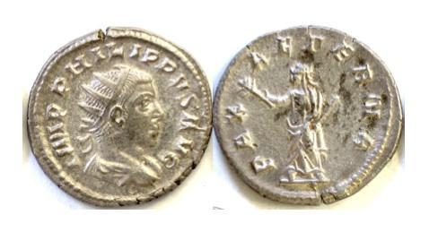 Ancient Coins - Philip II. AR antoninianus. Rome mint. Struck AD 248