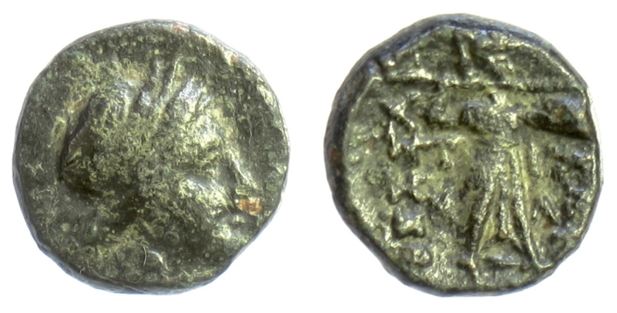 Ancient Coins - THESSALY, Thessalian League. AE chalkous. Tima... magistrate, late 2nd-mid 1st centuries BC. Apollo / Athena