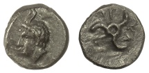 Ancient Coins - Dynasts of LYCIA, Perikles. AE 13, circa 380-360 BC. Pan / Triskeles