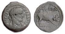 Ancient Coins - Claudius, Roman Provincial, EGYPT. AE diobol, dated year 2 (41-42 AD). Butting bull