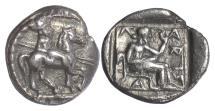 Ancient Coins - THESSALY, Larissa. AR Trihemiobol, circa 460-400 BC. Thessallian warrior / Larissa seated
