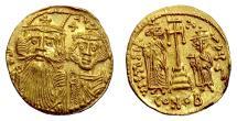 Ancient Coins - BYZANTINE, Constans II, Constantine IV, Heraclius, and Tiberius. AV Solidus, Constantinople, c. 661-663