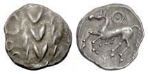 Ancient Coins - CELTIC, CENTRAL EUROPE, Boii. AR drachm, 1st century BC. Wreath / Prancing horse