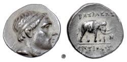 Ancient Coins - Seleukid, ANTIOCHUS III, the Great.  AR Drachm. Apameia mint, 222-187 BC. Elephant