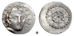 Ancient Coins - CARIA, RHODES.   AR Drachm, Leonidas, magistrate, circa 84-30 BC.  Helios / Rose
