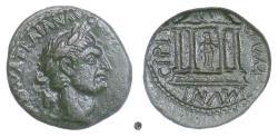 Ancient Coins - MACEDON, Stobi, TRAJAN.  AE 22, 98-117 AD. Tetrastyle temple