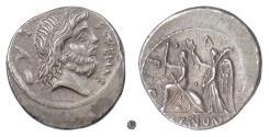 Ancient Coins - Roman Republic, M. Nonius Sufenas. AR Denarius, Rome mint, 57 BC. Saturn / Roma