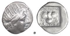 Ancient Coins - Islands off Caria, RHODES.   AR Drachm, circa 88-84 BC.  Helios / Rose