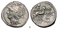 Ancient Coins - Roman Republic, L Appuleius Saturninus. AR denarius, Rome mint. 104 BC.  Roma / Saturn driving quadriga