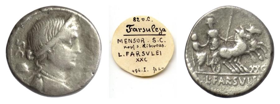 Ancient Coins - Roman Republic, L. Farsuleius Mensor. AR denarius. Rome mint, 75 BC. Libertas / Roma in biga