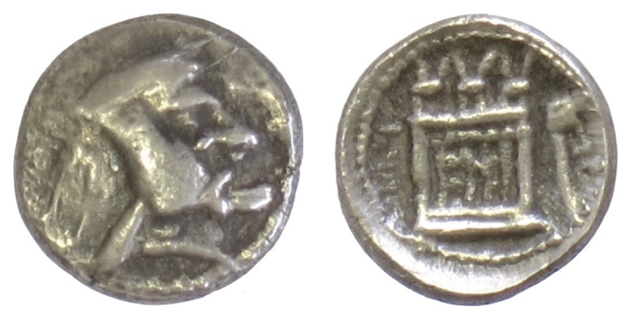 Ancient Coins - Persis, VAHBARZ I (Oborzos). AR obol, 3rd century BCE. RARE