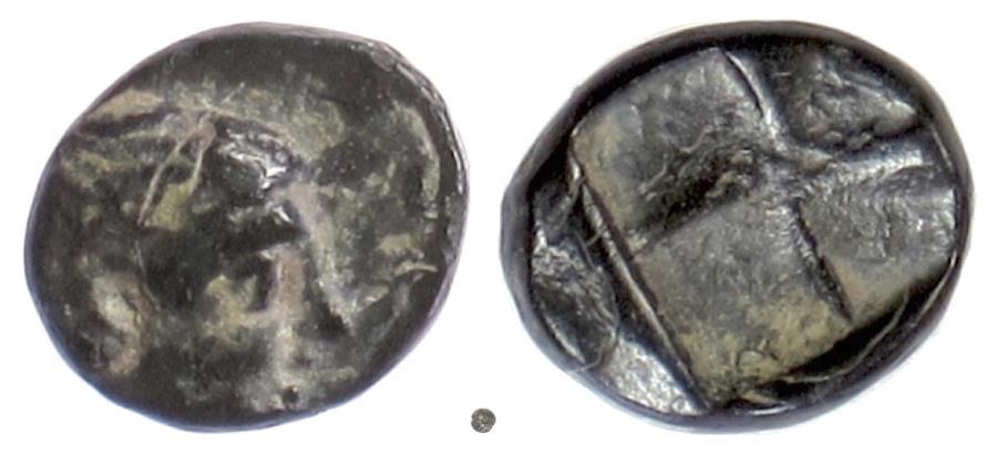 Ancient Coins - LESBOS, Mytilene. AE 9, circa 440-400 BC. Apollo / Incuse
