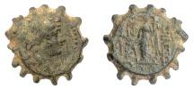 Ancient Coins - SELEUKID KINGS, Alexander II Zabinas. Serrate AE denom B (Apamea mint?), 128-122 BC. Scarce
