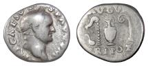 Ancient Coins - Vespasian. AR denarius, Rome, struck 70-72 AD. Sacrificial implements