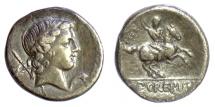 Ancient Coins - Roman Republic, Pub. Crepusius. AR denarius. Rome mint, 82 BC. Apollo / Horseman