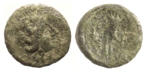 Ancient Coins - SICILY, Aitna. AE sextans, circa 210-150 BC.  Persephone / Cornucopia