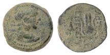 Ancient Coins - SELEUKID KINGS, Antiochos VII. AE denom B, Antioch, 133/2 BC. Eros / Isis headdress