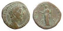 Ancient Coins - Marcus Aurelius. AE sestertius, Rome mint, struck 179 AD. Felicitas