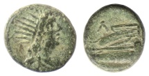 Ancient Coins - Phoenicia, Gabala? AE denomination C, early to mid 1st century BC. Helios / Prow