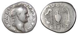 Ancient Coins - Vespasian. AR denarius, Rome, struck 70-72 AD. Sacrificial implements