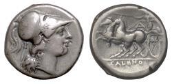 Ancient Coins - CAMPANIA, Cales. AR Nomos, circa 265-240 BC. Athena / Nike driving biga