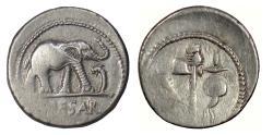 Ancient Coins - Roman Republic, Julius Caesar. AR denarius. Elephant trampling serpent