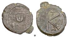 Ancient Coins - BYZANTINE, Maurice Tiberius. AE half follis, Constantine in Numidia mint, 592/3 AD